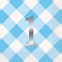 Blue Gingham 1st Birthday Napkins 16pk