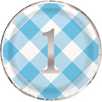 "Blue Gingham 1st Birthday 9"" Paper Plates 8pk"