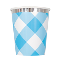 Blue Gingham 9oz Paper Cups