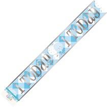 Blue Gingham 1 Today 12ft Foil Banner