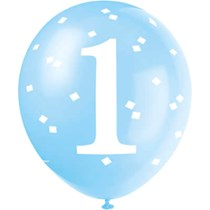 "Blue Gingham 1st Birthday 12"" Latex Balloons 5pk"