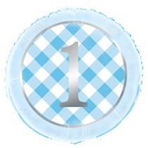 """Blue Gingham 1st Birthday 18"""" Foil Balloon"""