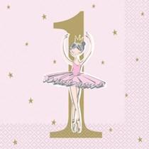 Ballerina 1st Birthday Luncheon Napkins 16pk