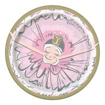 "Ballerina 1st Birthday 7"" Round Plates 8pk"