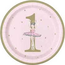 "Ballerina 1st Birthday 9"" Round Plates 8pk"