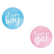 Team Boy or Girl Gender Reveal Buttons 10pk