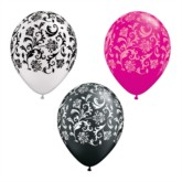 "11"" Assorted Damask Print Latex Balloons - 50pk"