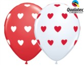 "Assorted Big Hearts 11"" Latex Balloons 50pk"