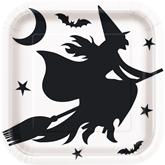 "Halloween Bats 9"" Square Paper Plates 8pk"