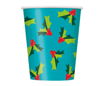 Christmas Holly 9oz Paper Cups 8pk