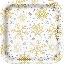 "Christmas Foil Stamped Snowflake 9"" Plates 8pk"