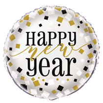"""Happy New Year Silver 18"""" Foil Balloon 12pk (Loose)"""