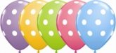 "Assorted Colour Polka Dot 11"" Latex Balloons 6pk"