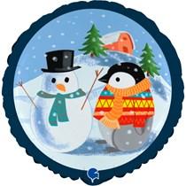 "Christmas Snowman & Penguin 18"" Foil Balloon"