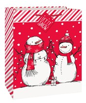 Christmas Snowman Red Large Gift Bag