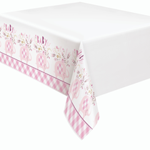 Pink Baby Elephant Plastic Tablecover