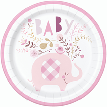 "Pink Baby Elephant 9"" Round Paper Plates 8pk"