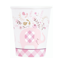 Pink Baby Elephant 9oz Paper Cups 8pk