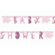 Pink Elephant Baby Shower 1.6m Letter Banner