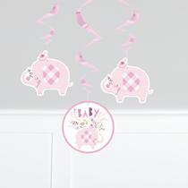 "Pink Baby Elephant 26"" Hanging Swirl Decorations 3pk"