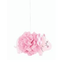 "Pink Baby Elephant 9"" Pom Pom Hanging Decorations 3pk"