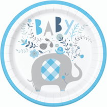 "Blue Baby Elephant 9"" Round Paper Plates 8pk"