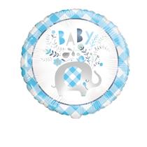 "Blue Baby Elephant 18"" Round Foil Balloon"