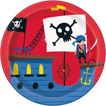 "Ahoy Pirate 7"" Round Plates 8pk"