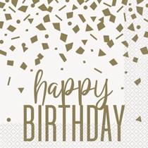 Happy Birthday Gold Confetti Napkins 16pk