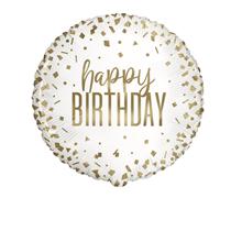 "Gold Confetti Birthday 18"" Foil Balloon"
