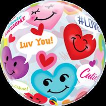 "Valentine's Smiley Hearts 22"" Bubble Balloon"