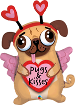 "Valentine's Pugs & Kisses 36"" Foil Balloon"
