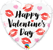 "Valentines's Kissy Lips 18"" Heart Foil Balloon"