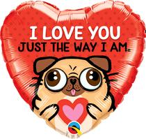 "I Love You Pug 18"" Heart Foil Balloon"