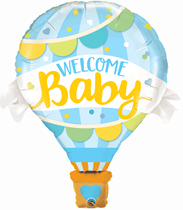 "Welcome Baby Blue Hot Air 42"" Foil Balloon"
