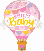 """Welcome Baby Pink Hot Air 42"""" Foil Balloon"""