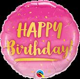 "Happy Birthday Pink & Gold 18"" Foil Balloon"