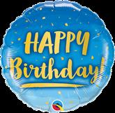 "Happy Birthday Gold & Blue 18"" Foil Balloon"