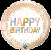 "Happy Birthday Metallic Dots 18"" Foil Balloon"