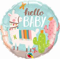 "Llama Hello Baby 18"" Foil Balloon"