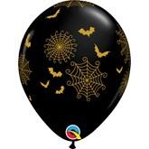"Halloween Spider Webs and Bats 11"" Black Latex Balloons 25pk"