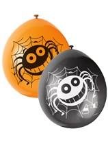 "Halloween Spider 9"" Neck-up Latex Balloons 10pk"