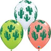 White, Coral & Green Cactus Latex Balloons 25pk