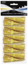 Gold Holographic Cone Poppers 10pk