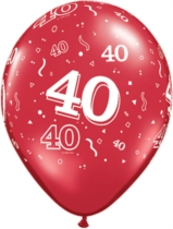 """Ruby Red Age 40 Latex 11"""" Balloons 25pk"""