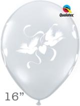 "Diamond Clear Love Doves 16"" Latex Balloons 50pk"