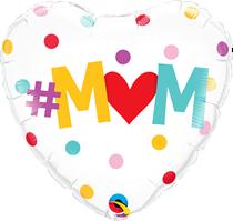 """Hashtag Mum 18"""" Heart Foil Balloon"""
