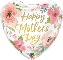 """Mother's Day Pink Floral 18"""" Foil Heart Balloon"""