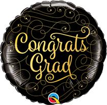 """Congrats Grad Gold Script 18"""" Black Foil Balloon"""