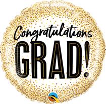 "Congratulations Grad Glitter Dots 18"" Foil Balloon"